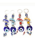 Wholesale Evil Eye Dolphin Multi-color Key Chains in Handmade in