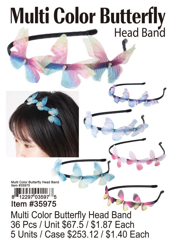 Multi Color Butterfly Head Band Wholesale